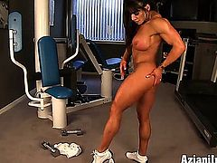 aziani iron, fitness, biceps, abs, muscles, workout, naked, female bodybuilder, latin, big clit