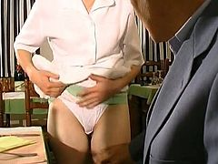 French whore proves she is an insatiable waitress in this video, as she gets down and dirty with an old guy who is a client and the young cook. She gives head and gets her pussy pounded hard and deep.