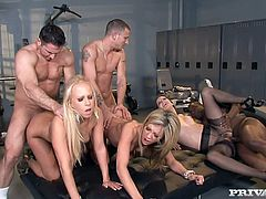 Amy Brooke, Bobbi Starr and Carla Cox are having fun with three men in the locker room. The bitches show their cock-sucking skills to the men and then allow them to fuck their holes and cum on their faces.