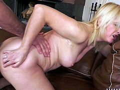 Shabby looking blond whore clings to oversized cock to suck it zealously before she bends over a couch for a hard drill from behind in steamy sex video by 21 Sextury.