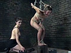 Apart from all the bondage action in this video, you will see the submissive girl getting tortured and strapon fucked.