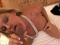 Slutty milf likes having a fat cock up her mouth in POV blowjob scene