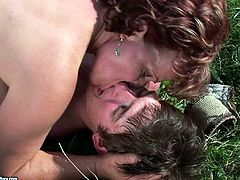 This steamy 21 Sextury xxx clip is surely worth checking out. Spoiled busty and booty brunette mature slut meets a tourist in the moutains. She sucks his dick and gives a titfuck right on the grass.