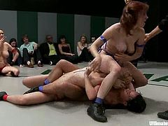 Horny girls fight in a ring and lick each others pussies