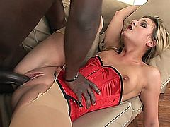 Big dick lover Kia Winston knows that she just needs to get a big black dick to make her happy, and happy she does indeed get. She's spreading herself out wide and wanting that cock right in her ass. The interracial action gets even better as her pantyhose rips from the fucking.