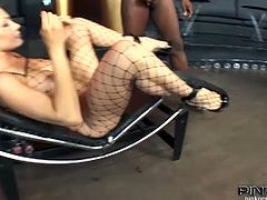 Watch the vicious and busty blonde milf Vittoria Risi getting her mouth banged by a big black cock. Then she's ready for her pussy to be drilled balls deep into a breathtaking explosion of pleasure. She looks hot in that fishnet suit!