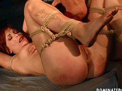 This girl is bound hand and foot for hardcore punishment. Horny dude pounds her snatch ruthlessly in and out loosening up her once tight hole. Then he forces her to give him oral sex.