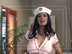Where there's a hard cock in need of some very special medical attention nurse Tera is there to help. She has her special treatment for hard cocks, a pair of gorgeous red lips! The busty brunette goes down on her knees and begins her work, wrapping her lips around the penis. She sucks it hard like a real pro!