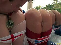 Krissy Lynn, Nikki Delano and Rose Monroe are Brazzers team for Big Ass Olympics. They show off their oiled up huge booties and get their assholes finger fucked by one lucky guy. Too much ass makes him happy.