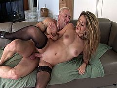 Blonde MILF in sexy stockings Roxy Jezel is ready to go dirtier on the couch with super hot muscled dad. Her arousing moves make her men go crazy for her body and fuck her like no stopping.