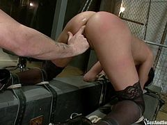 This busty and desirable brunette angel Anissa Kate gets her juicy melons twitched and chained. Her mouth is gagged with a ball so that she won't moan fucking loud!
