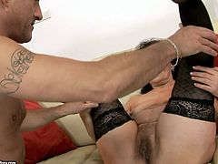 Flamboyant brunette mature in black stockings gets her bearded pussy fingered by horny dad before he starts drilling it with a dildo in peppering sex video by 21 Sextury.