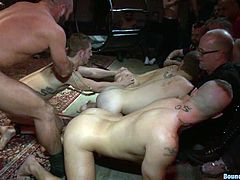 This dude loves to be dominated by other men. So, he gets tied up and tortured with clothespins fixed to his body. After that he gets his ass fingered and fucked rough.