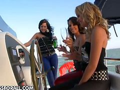 Sandy, Blue Angel and Madison Parker feed each other with their sweet pussies on a yacht during a sunny day.