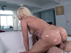 Slutty blonde Anikka Albrite is having fun with some dude in a bathroom. She plays with her butt and lets the guy watch her and then they have some naughty doggy style banging.
