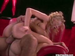 Hot curly-haired blonde milf Katie Morgan shows her well-rounded butt to some guy and lets him eat it. Then they bang doggy style and in other positions and Katie moans loudly with pleasure.
