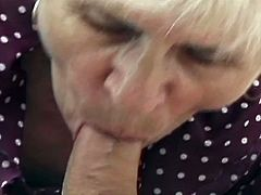 Check out this horny granny sucking big young cock like a real pro. She deepthroats it really nice and begs this dude to stick it into her pussy and asshole.