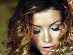 Young gorgeous brunette goddess Heather Vandeven with perfectly shaped medium boobs and tight sweet ass in lace lingerie gets naked while teasing and pleasures herself on dining table.