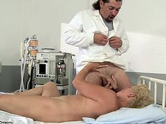 This blond booty patient is too old. Pale and wrinkled whore with saggy tits thirsts for cum and needs no medicine. So mature fatso unzips doctor's pants and gives a solid blowjob right in the hospital.