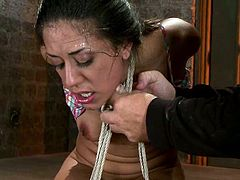 This smoking hot and juicy chick Lyla Storm is damn naughty and sexy! She gets tied up and that powerful vibrator makes her twat drool.
