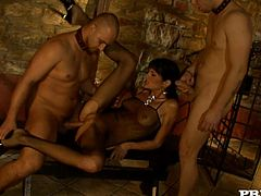 Hardcore double penetration is what Sarah Twain had been seeking! She loves when two sweating men make her reach orgasm!