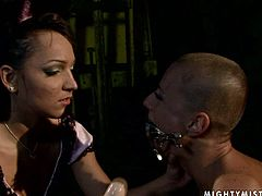 Kinky bald woman loves rough sex with bondage elements. The fact she can not move nor resist any action turns her on as hell. So watch her getting toy fucked hard while tied up hanging down the ceiling.