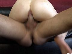After some ruthless facial abuse, blondie Krys Foxy gets her ass hole abused when this horny guy stretches her gaping hole and fills it with his raging boner and then makes her suck it clean.