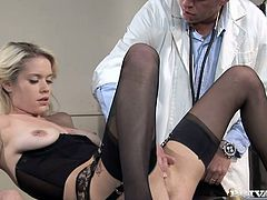 Nasty blonde Kissy Kapri is being examined in a hospital. She lets some slutty nurse play with her vag and then gets her butt drilled hard by the doctor.