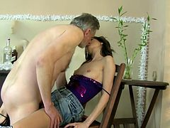 Alluring brownhead chick with pretty face and skinny body is pounded hard in a missionary position upskirt. Then she polishes old grandpa's cock properly. Then she bends over the chair getting hammered hard doggy style.