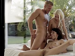 Hot beauties fucked in threesome