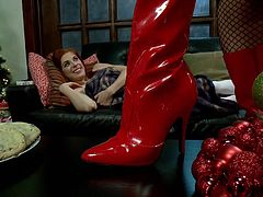 Cute Penny was taking a nap in the Christmas eve, patiently awaiting her gift, when her wish come true. Sensual and devilish Tanya approached her, wearing red high heels and putted Penny to lick them. Just like and obedient good girl she started to lick the boots and prepared for a lot more.