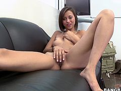 This beautiful skinny girl is called Mia Lina and she has a delightful tight shaved pussy, a hot butt and nice natural tits. She puts them all to use in this sex video.