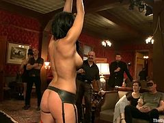 Brunette chick gets her tits pinched and ass spanked. Later on she gets her hot pussy toyed with a vibrator.