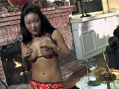 Zesty Asian prostitute Lucy Lee pleases aroused biker with blowjob