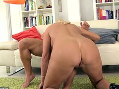This mature woman is an experienced slut when it comes to pleasing men. She takes that juicy meat stick up her juicy fanny and rides it for a long time. The way her huge tits bounce up and down guarantee his cock won't go limp. Then she takes it doggy style.