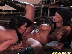 Check out these horny latin bitches having some wild lesbian fun. Watch them switching turns, licking and fingering their tight pussies!