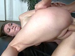 Petite brunette Victoria Lawson is naked and ready to be fucked. She shows her pink pussy hole in closeup as she bends over for hard cocked guy. He turns her on and inserts his schlong in her fuck hole from behind.