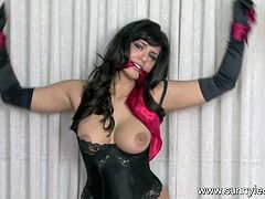 Brunette pornstar is amazing during hot session of pure bondage porn