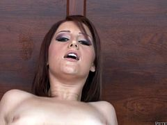 Wanton red-haired prostitute gives head to oversized dick before she bends down to get nailed from behind. Later she rides a horny dude in cowgirl style in pov sex video by Fame Digital.