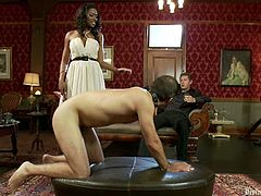 Dominant Ebony Nyomi Banxxx Fucks White Dude's Ass in Femdom