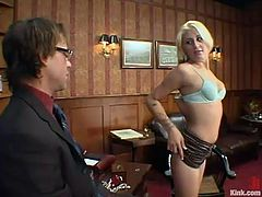 Stacy Thorn is the beautiful blonde having rough hardcore sex in a bondage and domination session where her pussy is fucked hard by her boss.