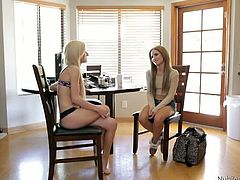 Spoiled blond lesbian enjoys mauling small perky tits and sticking out juicy ass of alluring brunette cutie before she makes her stand in doggy pose to welcome hard fuck from behind in sizzling hot 3some sex video by Nubiles Casting.