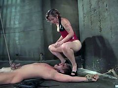 Well, that's the power of BDSM femdom scenes! Horny chick ties up her male slave Danny Wylde and makes him moan from pain!