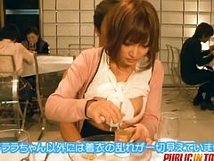 Kirara Asuka plays the role of a reporter who's out for dinner in a restaurant. A guy comes from behind and starts fucking her.
