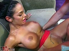 Very pretty and sexy slut with big fake tits likes to wank her pussy with some big dildo while her lover stabs her shaved pussy with his prick