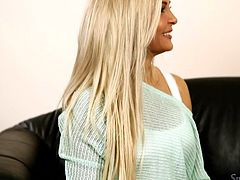 Silvia loves to invite hot whores and this time, she got us a very naughty beauty. Jenna is today's special guest and after a short chat with Silvia, she takes off her clothes, revealing us her sexy body. The blonde has a pair of sweet tits, a bald snatch and she's ready to misbehave!