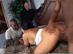 See the vicious brunette wife Mrs. Randolph getting her mouth and pussy drilled by two horny black studs in this amazing interracial threesome vid. She loves cuckolding her man with black dudes!