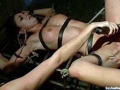 Kara Price and her titless GF are having BDSM fun with Mr. Pete in a basement. They let the dude bind them and then enjoy having his prick in their pussies and assholes.