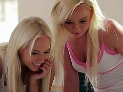 Charming teen hotties kiss passionately starting spicy lesbian sex. They strip seductively caressing one another. Then, two titillating babes tickle their fancies in 69 position. Mind-blowing lesbian sex scene brought to you by Nubile Films.