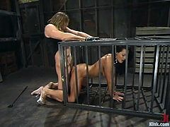 There's a hot hardcore domination and bondage fuck where the sexy brunette Sandra Romain is tied up and banged hard.